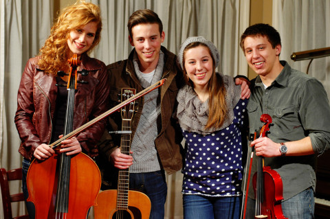 one musical evening - our friend, Katie, Isaiah, Ladybug, and Samuel