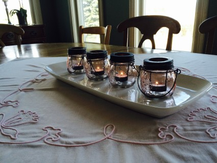 table pink candles