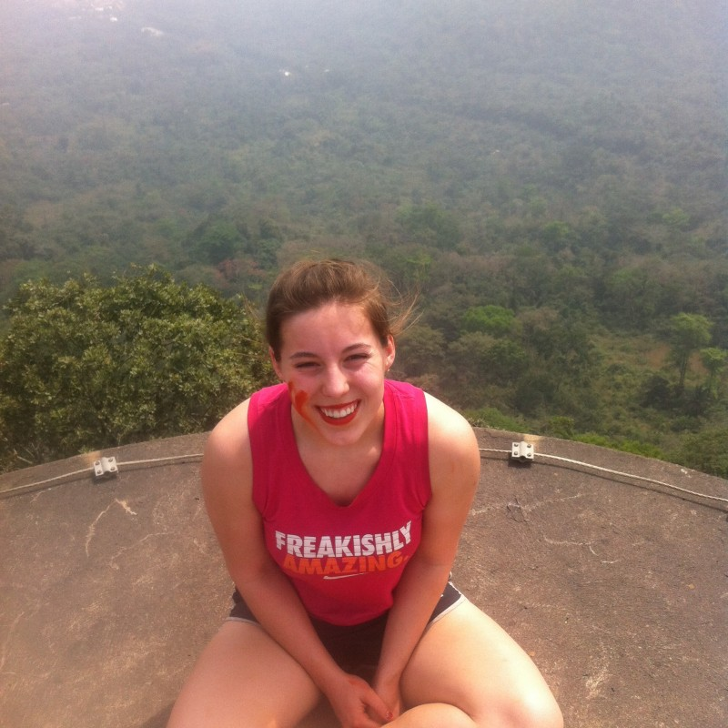 Annarose climbed to the top of this very high tower in Togo - my heart