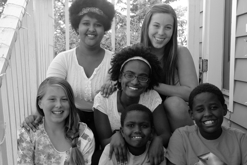 fall 2014 - my youngest six with Kalkidan in the middle